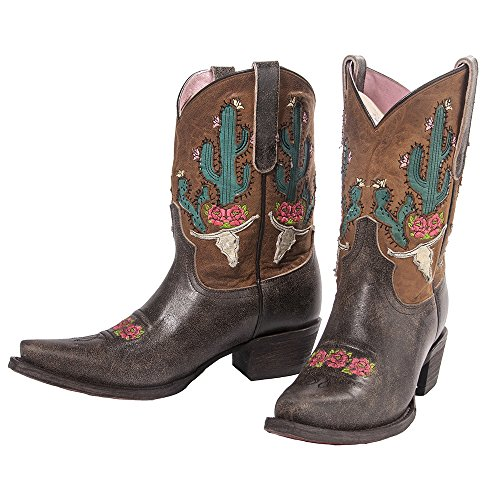 Lane Junk Gypsy Western Boots Donna Bramble Rose Leather Brown Jg0015c Marrone