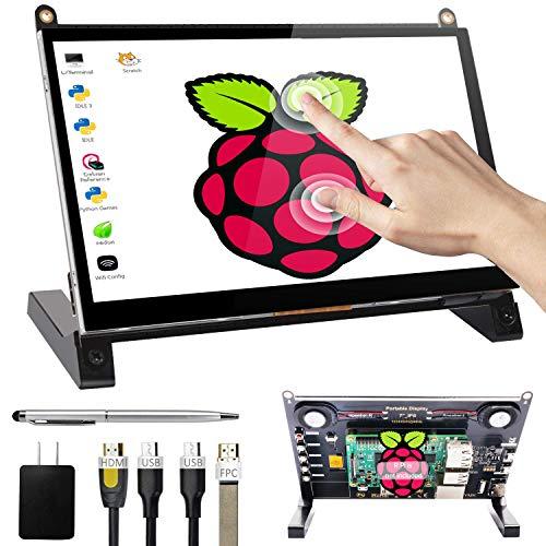 UPERFECT 7-inch Touchscreen for Raspberry Pi Portable Display IPS Screen 1024×600 Open Source Module Speakers with Prop Stand Touch Pen for Raspberry Pi 3 2 Model B B+ Ubuntu PC Win MAC Nintendo