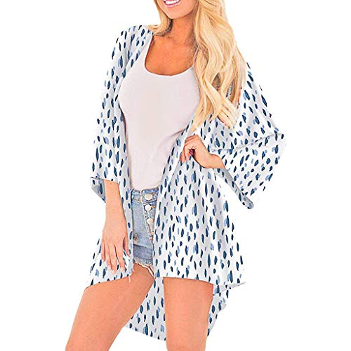 Pretty Cardigan Womens Half Sleeve Chiffon Printing Smock Easy Blouse ()