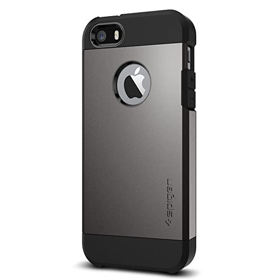 5039d5ba61b Spigen Tough Armor iPhone SE Funda Estuche con Protección Extrema  Air-Cushioned Resistente para Apple iPhone SE (2016) - Gris Obscuro:  Amazon.com.mx: ...