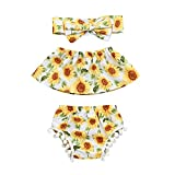 Newborn Infant Summer Swimsuit Baby Girls Outfits Clothes Ruffled Tops+Shorts+Headband Set