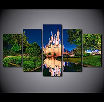 Amazon Com Disney Castle At Night Canvas Wall Art Framed 5 Panel