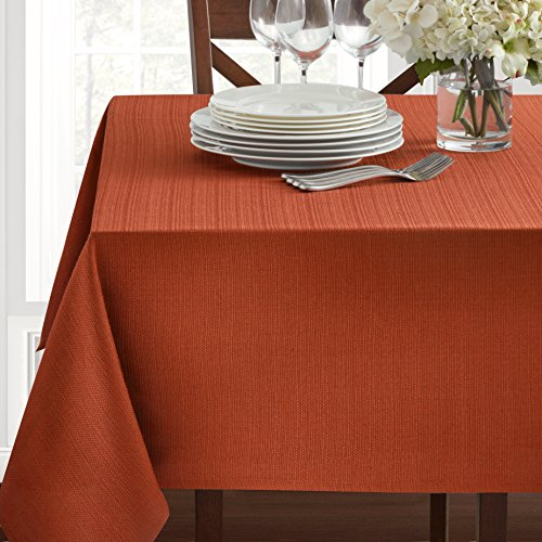 Textured Heavyweight Fabric Tablecloth, Bison, 60