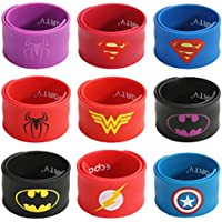 Ecparty Superhero Slap Bracelet for Kids Boys & Girls Birthday Party Supplies Favors (9 Pack)