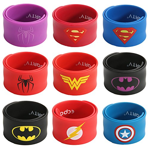 Ecparty Superhero Slap Bracelet for Kids Boys & Girls Birthday Party Supplies Favors (9 Pack) -