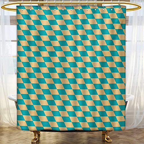 lacencn Geometric,Shower Curtains 3D Digital Printing,Art Deco Style Chess Table Dart Like Horizontal Vintage Image,Bathroom Set with Hooks,Turquoise and Pale Yellow,Size:W54 x L78 inch