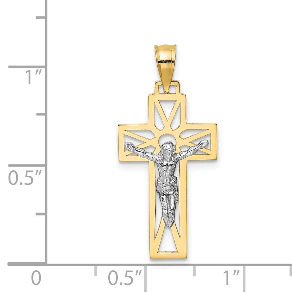 14K White Gold /& Yellow Gold Crucifix Pendant Solid 13 mm 30 mm Themed Pendants /& Charms Jewelry
