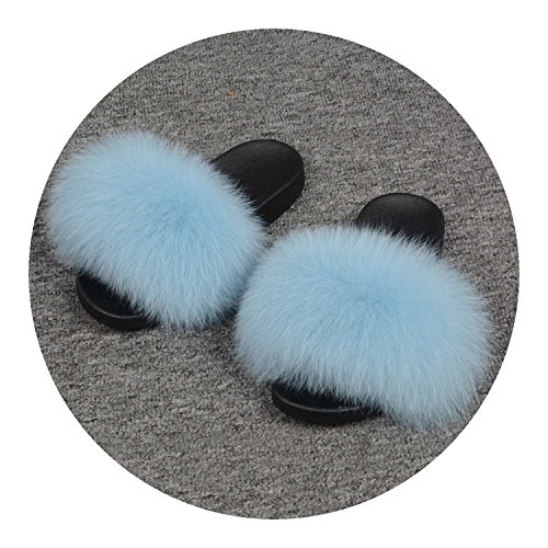 25 Colors Fox Fur Slides Hair Slippers Fur Sliders Beach Sandal Shoes for Indoor Outdoor,Light Blue,9