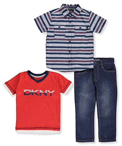 DKNY Little Boys' Toddler 3-Piece Outfit (Sizes 2T - 4T) - High Risk Red, (Dkny Kids Clothing)