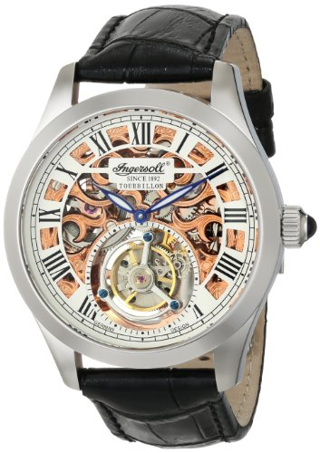 Ingersoll Men's IN5102SRG Golden Spike Tourbillon Analog Display Mechanical Hand Wind Black Watch
