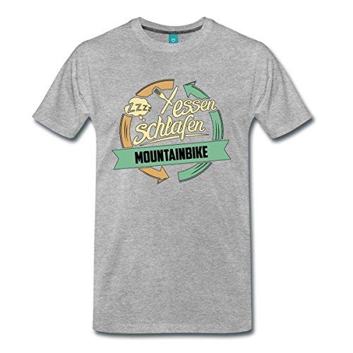 Essen Schlafen Mountainbike RAHMENLOS® Männer Premium T-Shirt von Spreadshirt®, M, Grau meliert