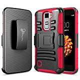 LG K10 Case, LG Premier LTE Case, NageBee [Heavy Duty] Armor Shock Proof Dual Layer [Swivel Belt Clip] Holster with [Kickstand] Combo Rugged Case for LG K10 / Premier LTE - Red