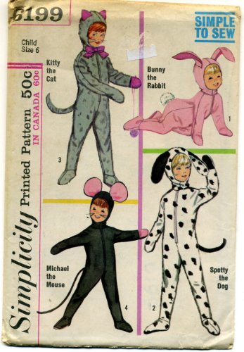 Vintage 1965 Simplicity Childrens Cat, Bunny, Mouse, and Dog Costume Sewing Pattern # 6199 ()