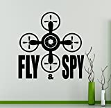 Fly Spy Drone Wall Vinyl Decal Aircraft Quadcopter Wall Sticker Aircraft Home Wall Art Decor Ideas Interior Removable Kids Room Design 16(drn)