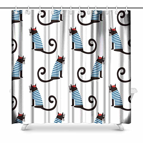 Bath Country Accessories Cats (InterestPrint French Style Cat Country House Image, Cute Cartoon Sitting Parisian Cat French Style Cat Country House Image Polyester Fabric Bathroom Shower Curtain Set with Hooks, 72 x 72 Inches)