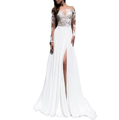 Fishlove 2017 Long Sleeve vestidos de novia Chiffon Lace Bridal Wedding Dresses With Slit W4