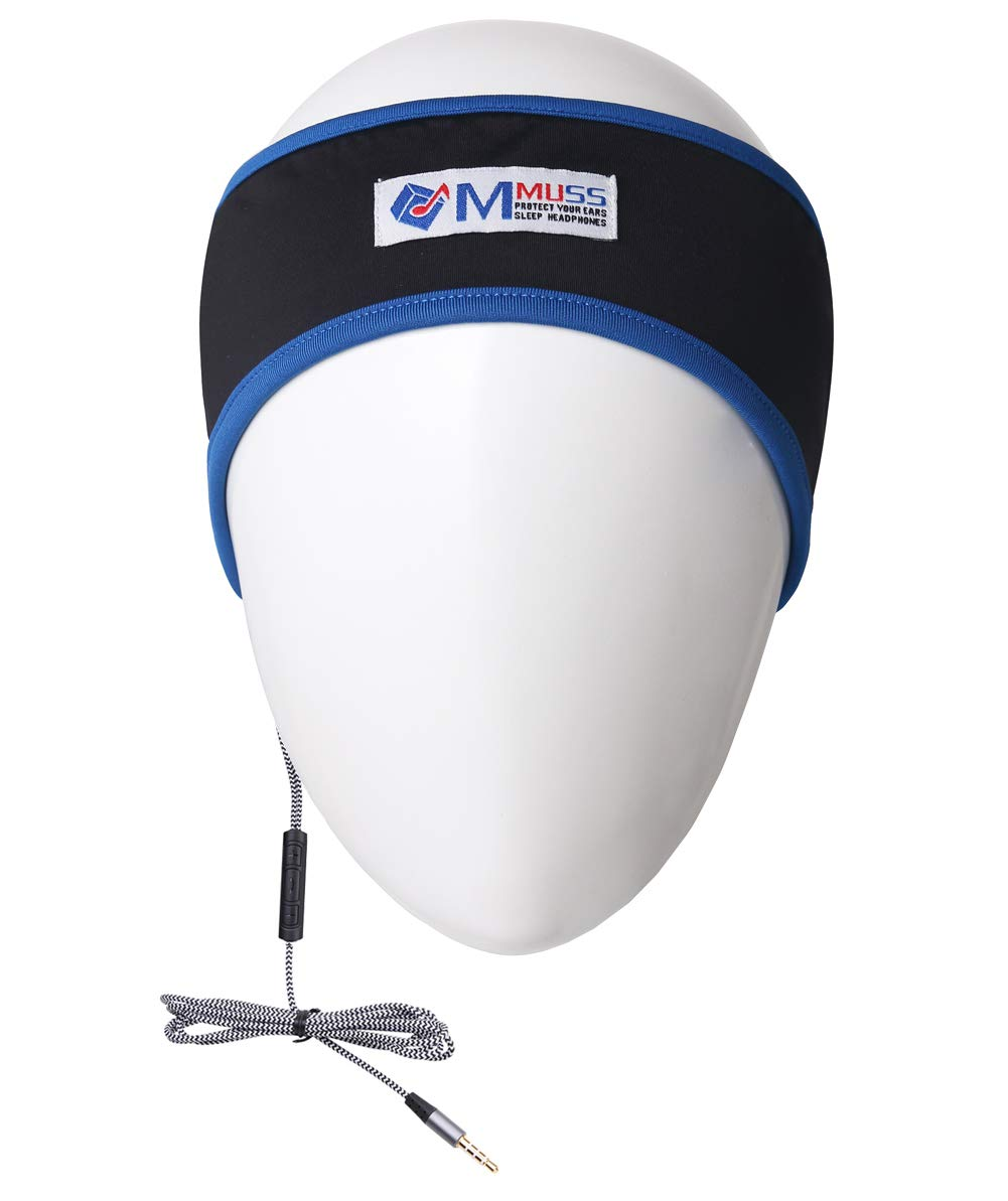 MMUSS Sleep Headphones Headband with Mic, Control Button and Ultra Thin Speakers. Perfect for Sleeping, Sports, Air Travel, Meditation and Relaxation Blue