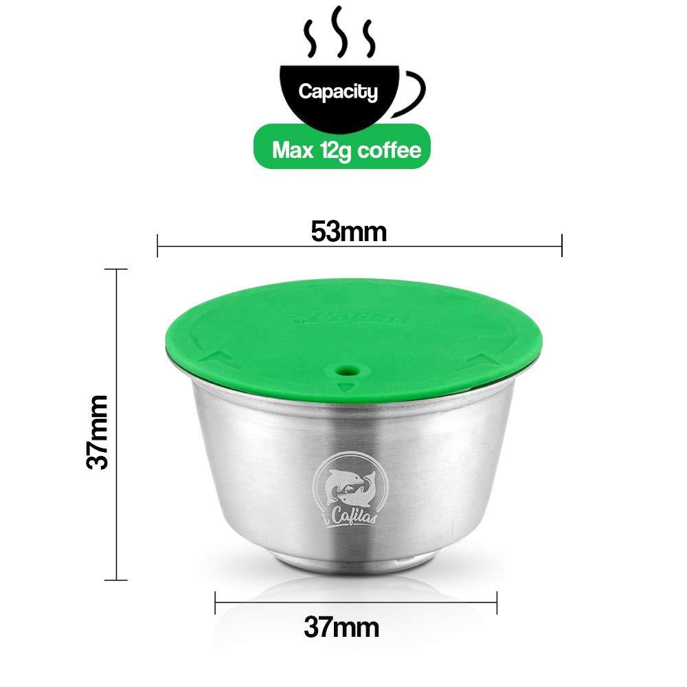 con 1 cucchiaio da caff/è e 1 spazzola 1 tamper ricaricabile Capsula filtro da caff/è riutilizzabile compatibile con le macchine Nescafe Dolce Gusto capsula Dolce Gusto I Cafilas