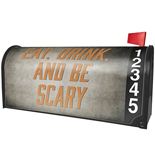 NEONBLOND Eat, Drink Be Scary Halloween Spooky Design Magnetic Mailbox Cover Custom Numbers -