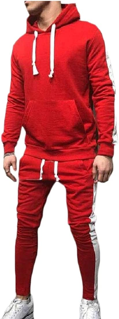 WSPLYSPJY Mens Sports Suit Tracksuit Solid Hooded Sweatshirt Jogger Pants Sets