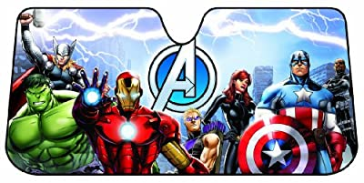 Plasticolor 003695R01 Marvel 'Avengers' Accordion-Style Windshield Sunshade