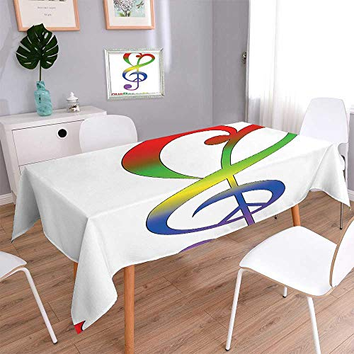 Printed Fabric Tablecloth Collection Love Peace and Music Clef Musical Notes Bass Old Sign Slogan Live Washable Polyester 60