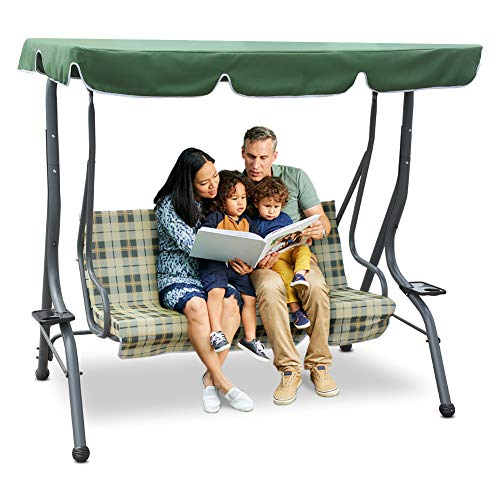Zupapa 3-Person Steel Porch Canopy Swing Seat with Stand, Adjustable Canopy Soft Cushioned UV Protection for Garden Poolside Porch Patio Backyard