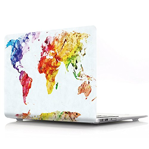 Allytech Macbook Air 13 Case - Map Pattern Series Matte Hard Shell Plastic Cover Snap on Protective Case for Apple MacBook Air 13.3 Inch (A1466 & A1369), Watercolor World Map 83 Hard Case