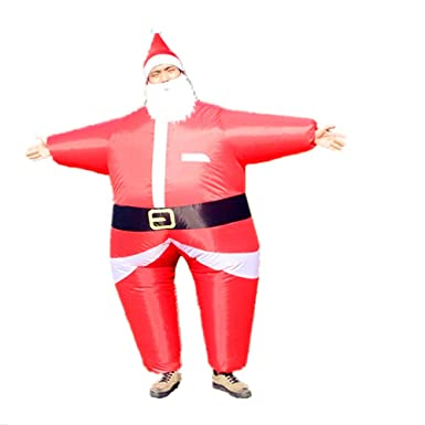 Amazon.com: Hinchable Navidad Disfraz Adulto Papá Noel Traje ...