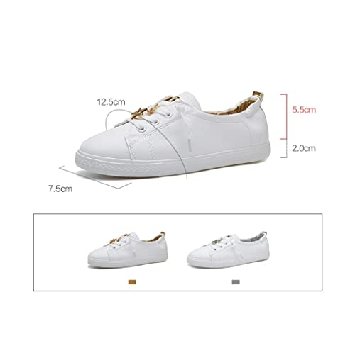 Women 's Leather Flat - Bottomed Shoes Fashion Simple Running Shoes Students Leisure Breathable Skateboard Shoes (Color : Silver Size : 39)