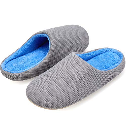 VIFUUR Women's House Slipper Cozy Memory Foam Home Slipper Slip-on Clog Indoor Shoes Grey EU42/43