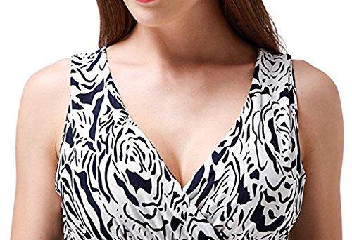 Wantdo Damen Sommer Welle Gedruckte Maxi Kleider