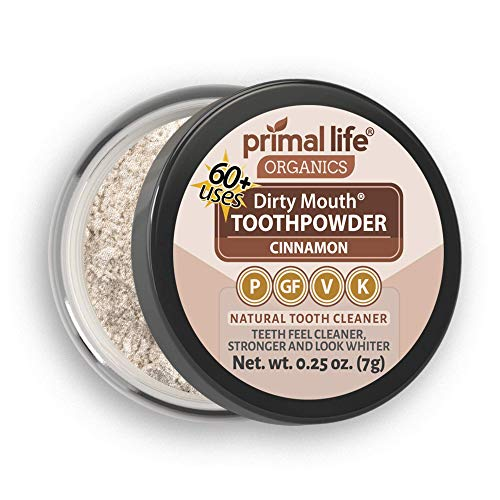 - Natural Tooth Powder Dirty Mouth Organic Toothpowder (1month) -#1 BEST All Natural Dental Cleanser -Gently Polishes, Whitens, Re-Mineralizes, Strengthens Teeth -Better Than toothpaste (Cinnamon