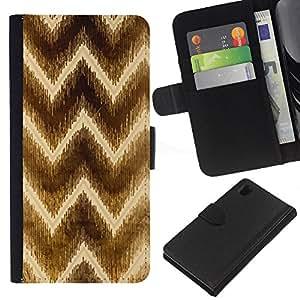 Sony Xperia Z1 / L39h / C6902 Modelo colorido cuero carpeta tirón caso cubierta piel Holster Funda protección - Chevron Brown Pattern Yellow