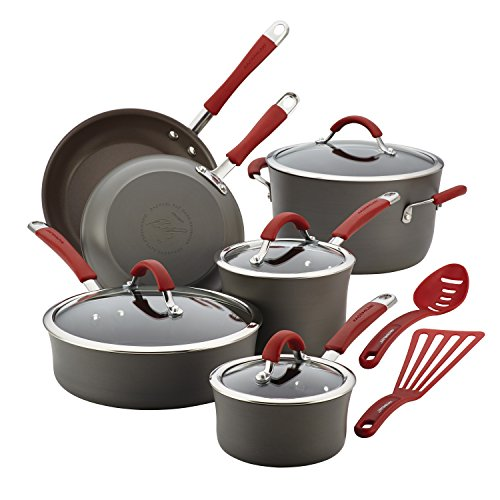 (Rachael Ray Cucina Hard-Anodized Aluminum Nonstick Pots and Pans Cookware Set, 12-Piece, Gray, Cranberry Red Handles)