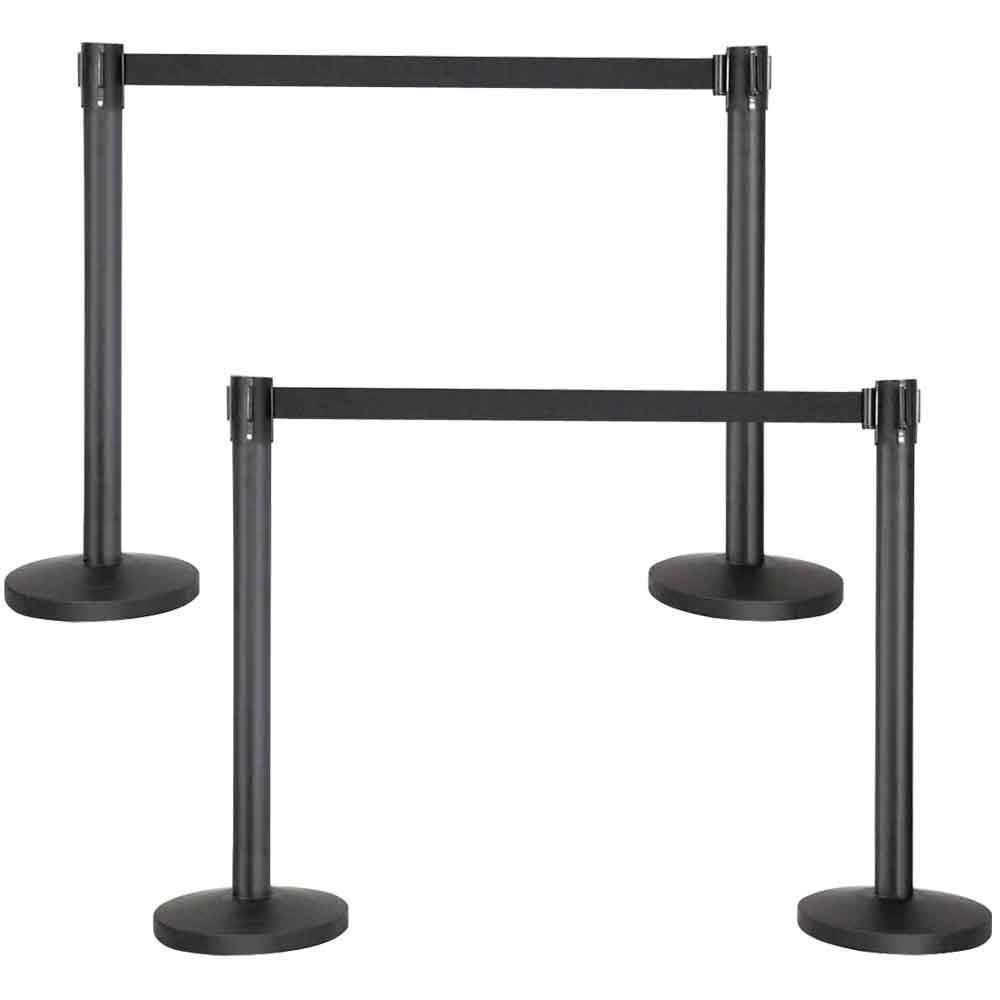 Yaheetech Stanchion with 6.5 Foot Retractable Belt Crowd Control Stanchion Queue Line Post Barrier (4-Pack)