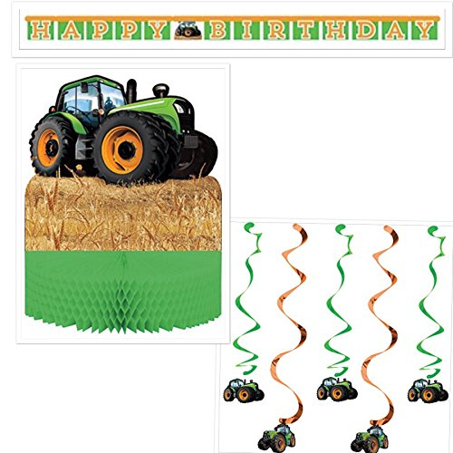 Farm Decoration Supply Bundle Pack: Centerpiece, Dizzy Danglers, Happy Birthday Banner