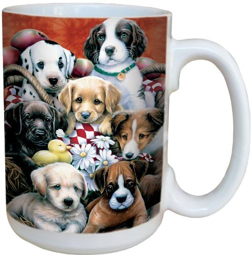 Puppy Pals Coffee Mug - Large 15-Ounce Ceramic Cup, Full-Size Handle - Gift for Dog, Pet, Animal Lovers - Tree-Free Greetings (Puppy Dog Coffee Mug)
