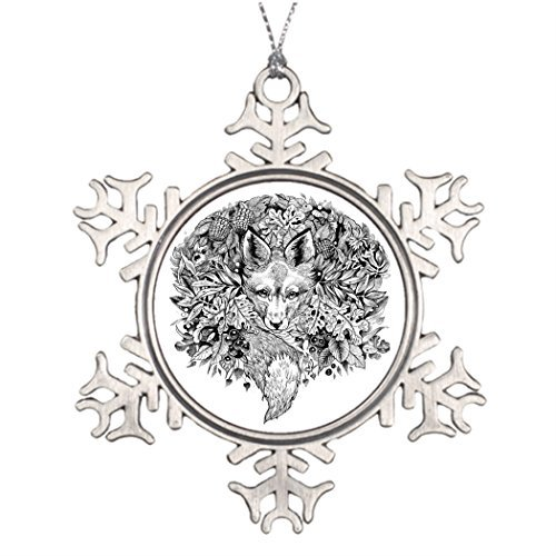 Lionkin8 Personalised Christmas Tree Decoration Hiding Fox Black and white drawing pin Hanging Garden Snowflake Ornaments Forest (White Fox Christmas Fabulous)