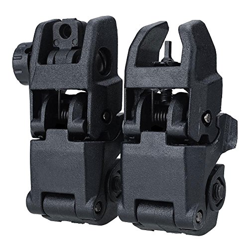 Collapsible Vision Put - 2 Lot 20mm Rail Tactical Folding Front Rear Flip Backup Sight Set - Gear Nonmoving Slew Situated Adjust Mass Mark Deal Determine Tidy Sum Arrange - 1PCs