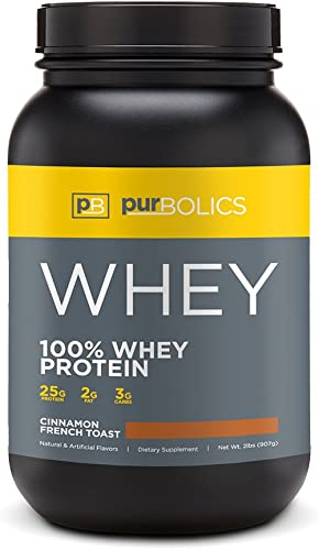 Purbolics Protein 100 Whey Protein Build Lean Muscle Improve Recovery 25g Protein 28 Servings Cinnamon French Toast