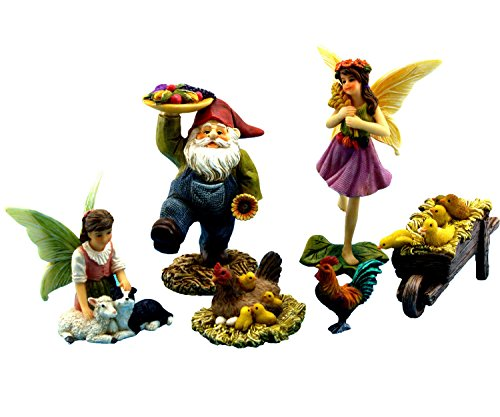 Fairy Garden   Garden Fairies   Miniature Accessories With Farm Animals And Gnome   6 Piece Set   Part Of The Fairy Farm Collection By Pretmanns