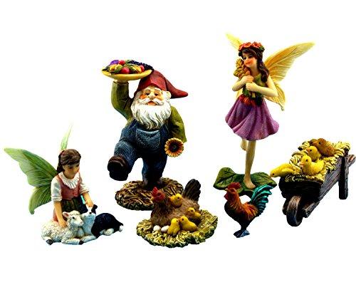 Pretmanns Fairy Garden Fairies Accessories   Miniature Gnome   Farm Animals   6 Piece Set   Part Of The Fairy Farm Collection