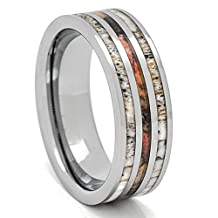 Deer Antler Ring with Camouflage 8mm Tungsten 3 Row Mens Wedding Band Comfort Fit