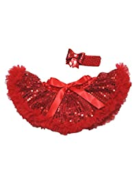 Valentine's Day Hot Red Sequin Dress Newborn Baby Skirt Tutu Girl Clothing 3-12m