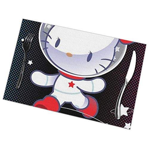 LIUYAN Placemats Space Hello Kitty Placemat Washable Table Mats Set of 6 for Dining Table