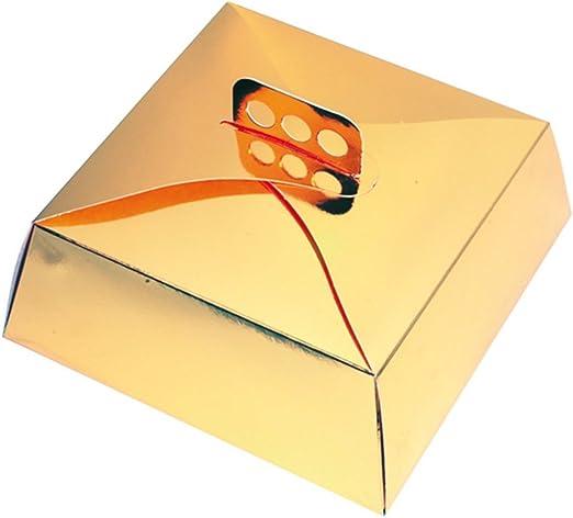 García de Pou Cajas Tartas Cuadradas, 34 x 34 x 10 cm, Set de 50, Dorado, Cartón: Amazon.es: Hogar