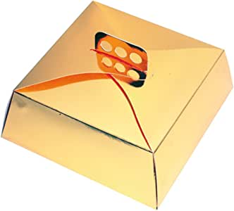 García de Pou Cajas Tartas Cuadradas, 30 x 30 x 10 cm, Set de 50, Dorado, Cartón: Amazon.es: Hogar