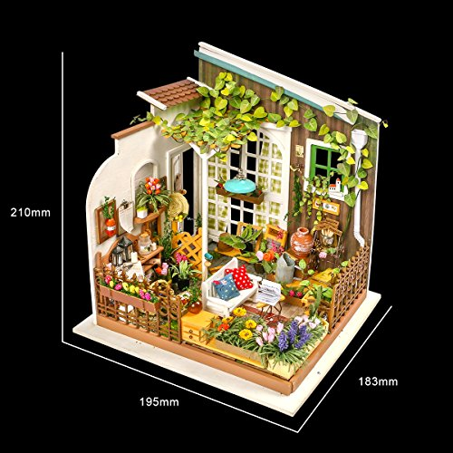 Robotime Diy Miniature Dollhouse Kit Garden House With Furniture