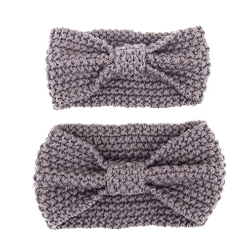Mother and Baby Girls Toddler Knit Headband Crochet Winter Elastic Hair Band (Acrylic Knit Headband)